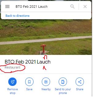 screenshot of Bukit Batok launch being labelled as a restaurant