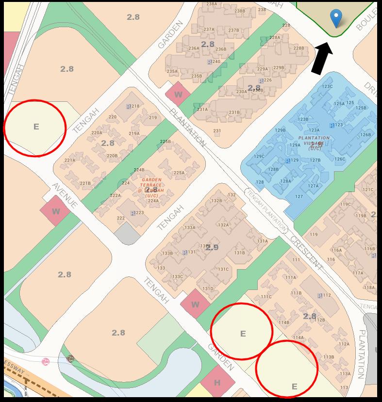 screenshot of the 3 schools in tengah for garden court/terrace