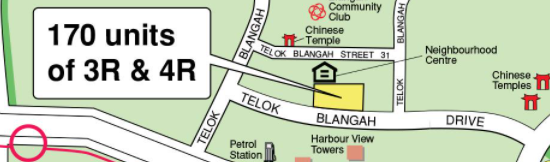 A mapview of the street for the Bukit Merah BTO