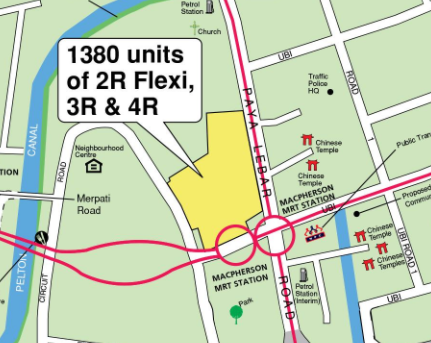 A mapview of the street for the Geylang BTO