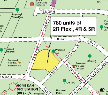 A mapview of the street for the Tengah BTO