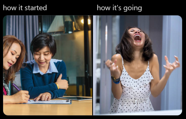 a how it started vs how it's going meme to showcase what happens if you don't refinance
